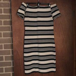 Topshop Dresses - TOPSHOP OFF THE SHOULDER BLACK AND TAN DRESS